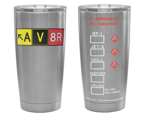 20 oz Stainless Steel AV8R Taxiway Sign Tumbler