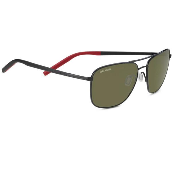 Serengeti Spello Sunglasses - Shiny Black, Mineral Polarized Drivers 555nm