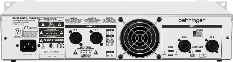 Behringer iNUKE NU3000 Ultra-Lightweight 3000-Watt Power Amplifier
