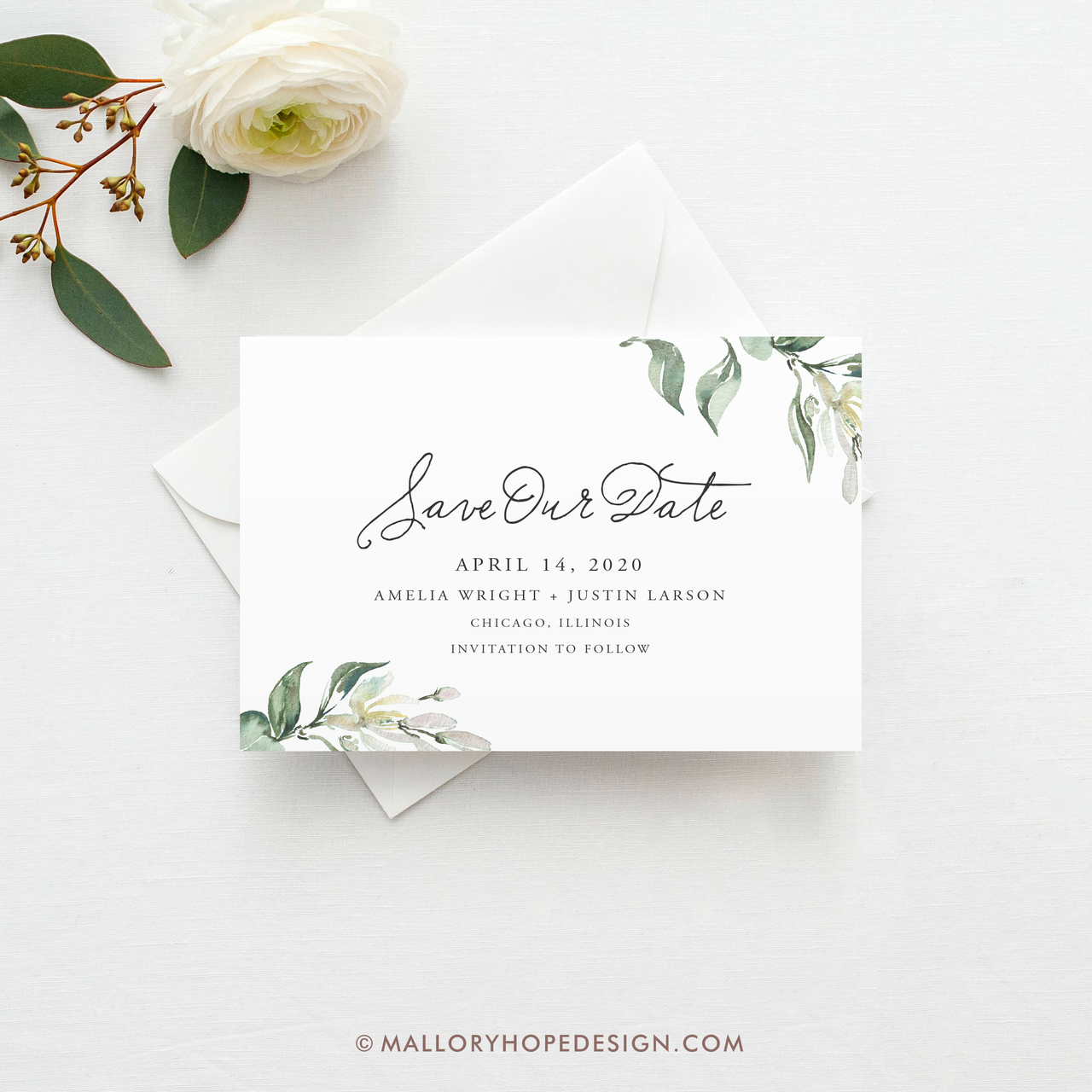 Save Our Date Greenery Wedding PRINTED Greenery Save The Date Save The Date Invitation