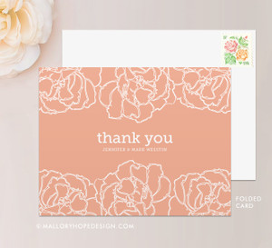 Pretty Peony Thank You Card (folded)