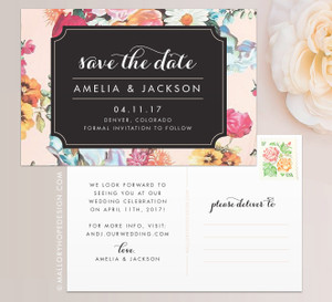 Glam Floral Save the Date in Vintage Floral