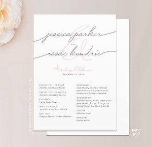 Handwriting Simplicity Wedding Program A7 Flat Card