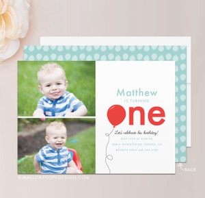 One Balloon Birthday Invitation
