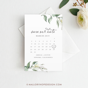Greenery Calendar Save the Date Magnet, Postcard PRINTED, Save the Date, Tuscan Save the Date, Wedding Save the Date, Greenery Save our Date