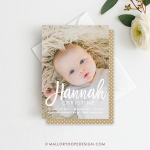 Handwritten Photo Birth Announcement
