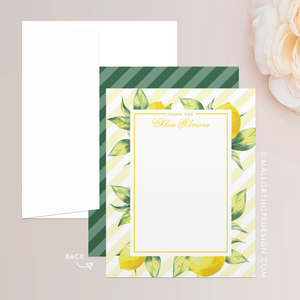 Lemon Thank You Card, Lemon Stationery