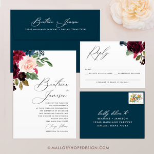 Marsala Flowers Wedding Invitation Suite
