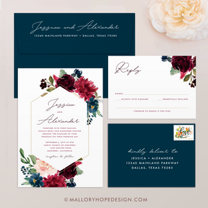 Marsala Flowers Diamond Wedding Invitation Suite