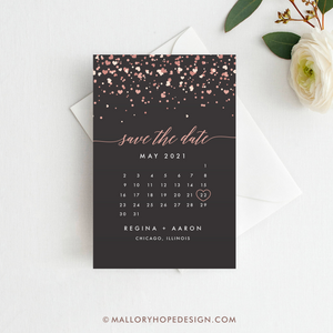 Confetti Calendar Save the Date Magnet, Postcard, or Flat Card
