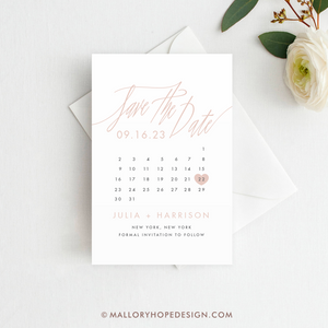 Signature Script Calendar Save the Date Postcard, Magnet or Flat Card