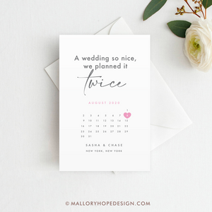 Planned It Twice Save the Date Magnet, Postcard or Flat Card, Postponed Wedding Card