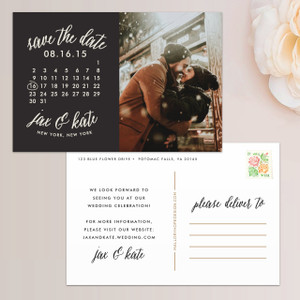 Calendar Photo Save the Date Postcard