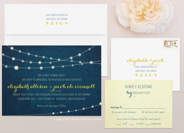 Twinkle Lights Wedding Invitation