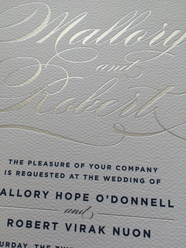 Sophisticated Script Silver Foil Wedding Invitation