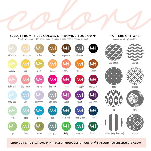 Mallory Hope Design Color and Pattern Options