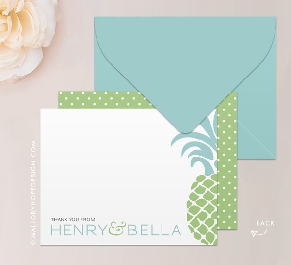 Tropical Pineapple Stationery or Thank You Card