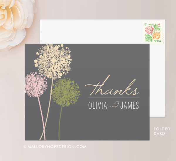 Dandelion Stationery or Thank You Card (folded)