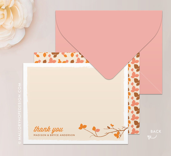 fall leaves stationery or thank you card mallory hope design