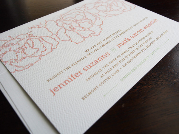 Pretty Peony Wedding Invitation (shown on white felt paper)