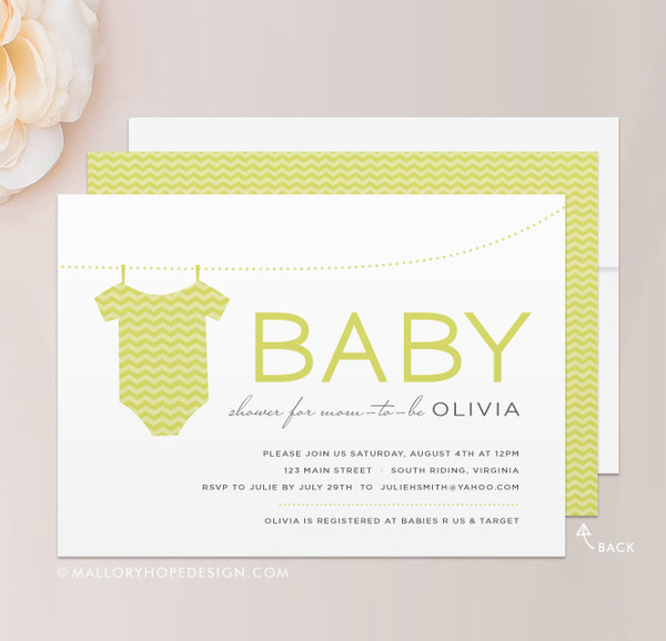 Chevron Onesie Baby Shower Invitation