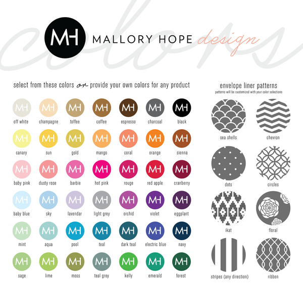 Mallory Hope Design Colors and Back Pattern Options
