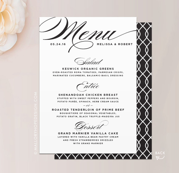 Sophisticated Script Wedding Dinner Menu