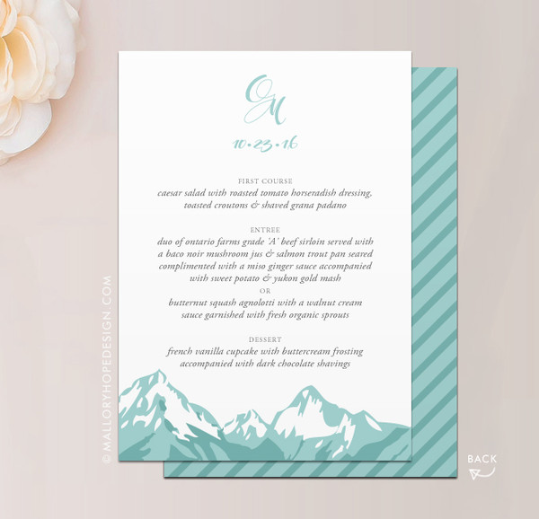 Mountain Range Wedding Dinner Menu