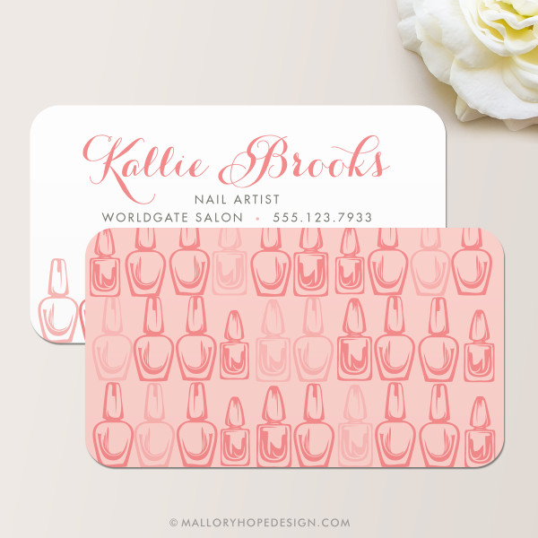 Nail Artist Business Card, Nail Salon Business Card Back in Dusty Rose