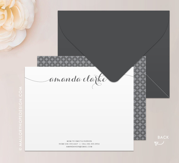 Flowing Script Notecard or Thank You Card