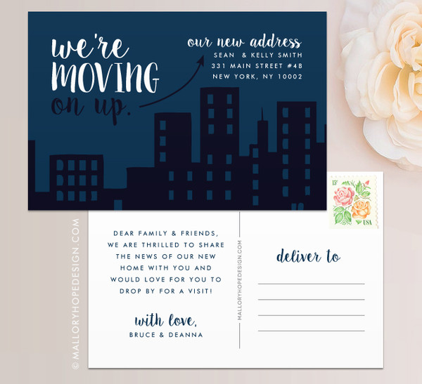 Apartment Moving Announcement, Postcard Moving Announcement, Magnet Moving Announcement, Cityscape Moving Announcement