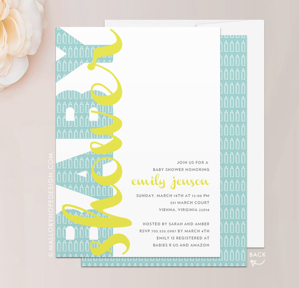 Baby Bottles Baby Shower Invitation