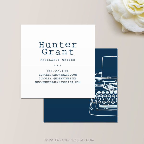 Typewriter Square Business Card