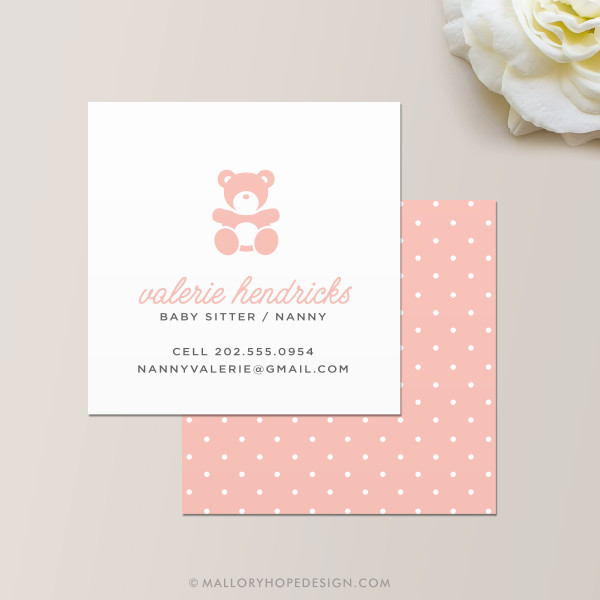 Nanny or Babysitter Square Business Card