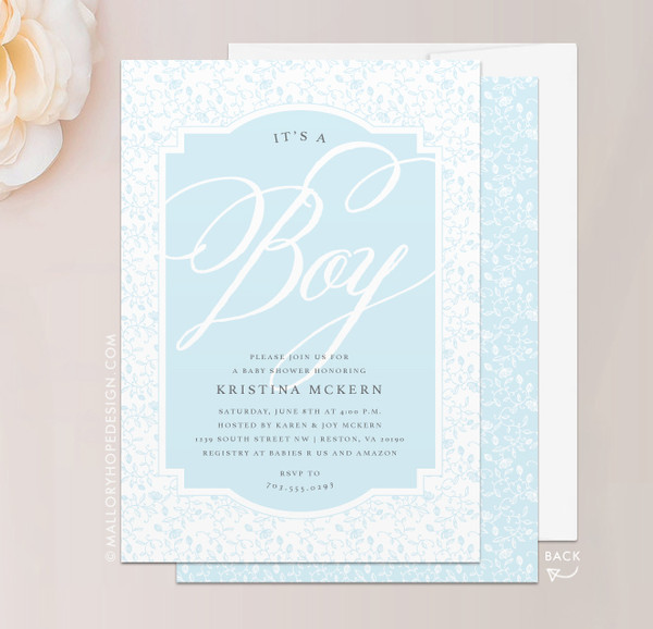 Dainty Baby Shower Invitation - It's a Boy! in Baby Blue