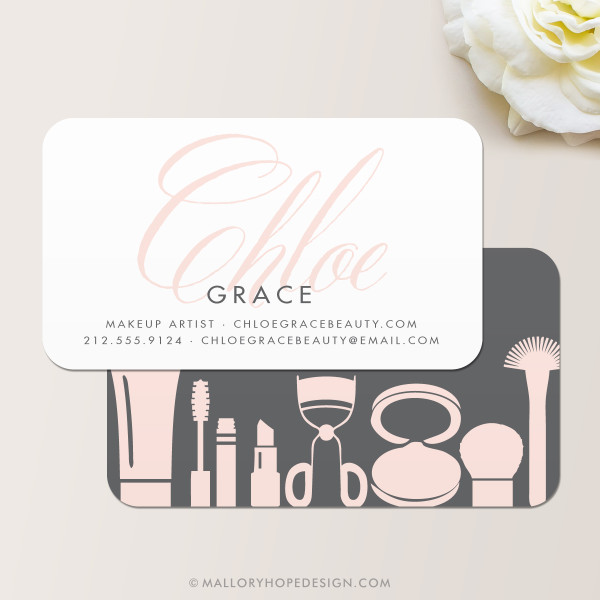 Grace Makeup Artist or Cosmetologist Business Card in Charcoal and Blush