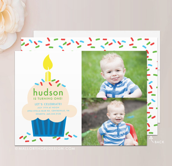 Cupcake Photo Birthday Invitation
