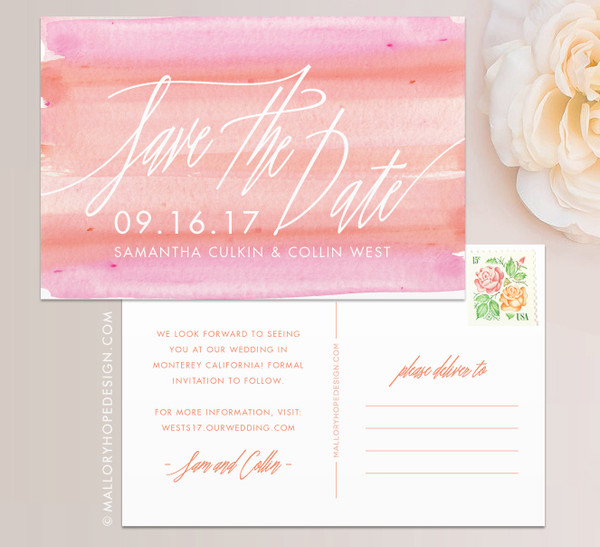 Signature Script Watercolor Save the Date