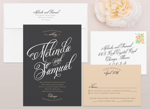 Fancy Script Wedding Invitation