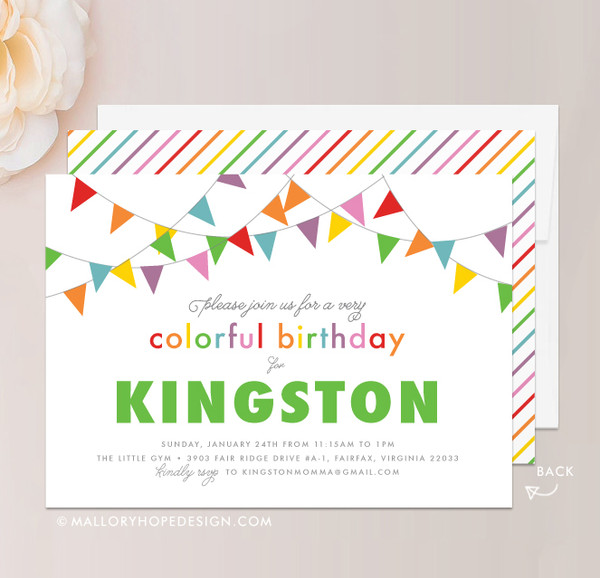 Rainbow Birthday Invitation in Green