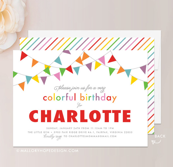 Rainbow Birthday Invitation in Red Apple