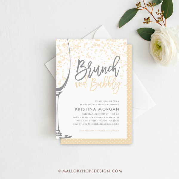 Brunch & Bubbly Bridal Shower Invitation - Champagne