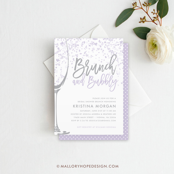 Brunch & Bubbly Bridal Shower Invitation - Lavender