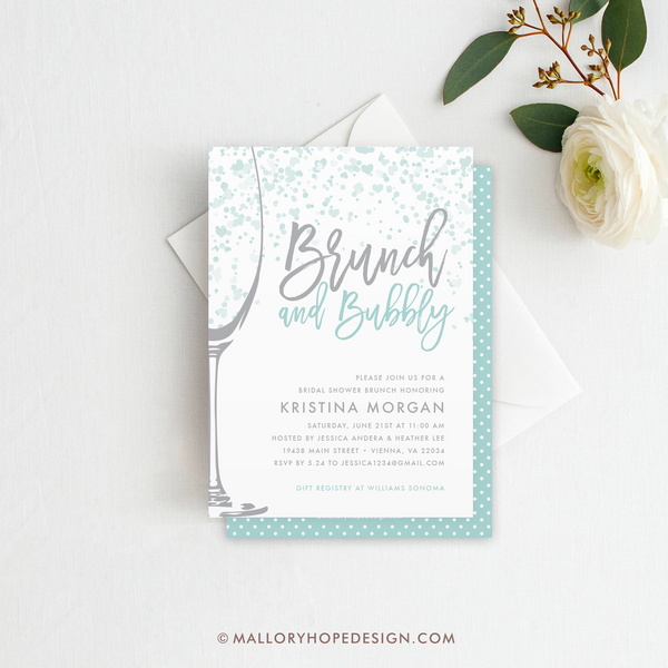 Brunch & Bubbly Bridal Shower Invitation - Aqua