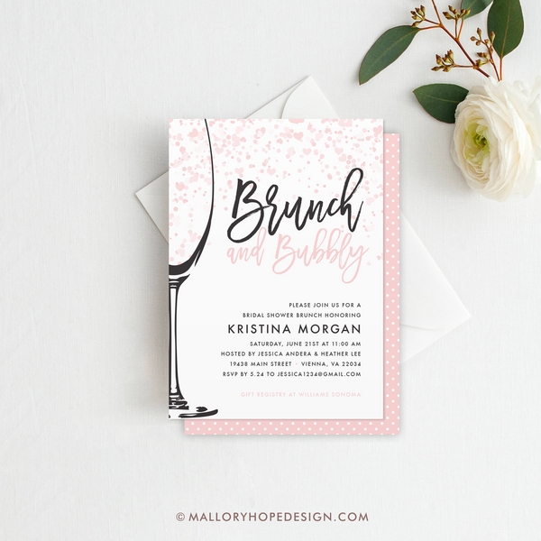 Brunch & Bubbly Bridal Shower Invitation - Black