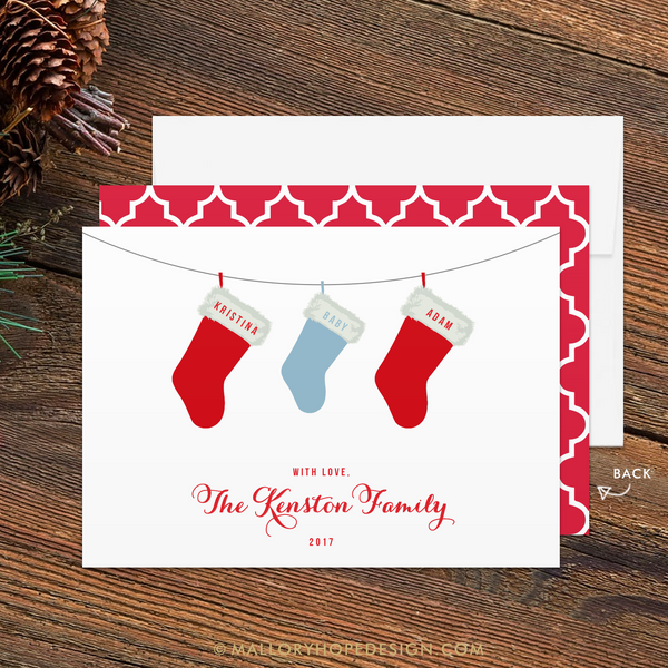 Stockings Baby Announcement Holiday Card - Baby Boy