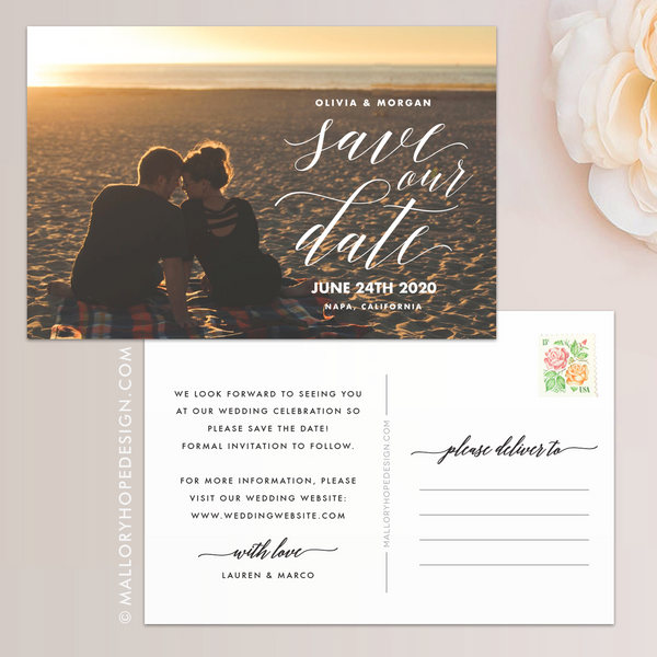 Calligraphy Photo Save the Date