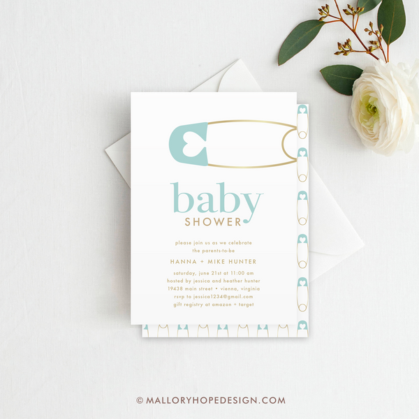 Diaper Pin Baby Shower Invitation - Aqua