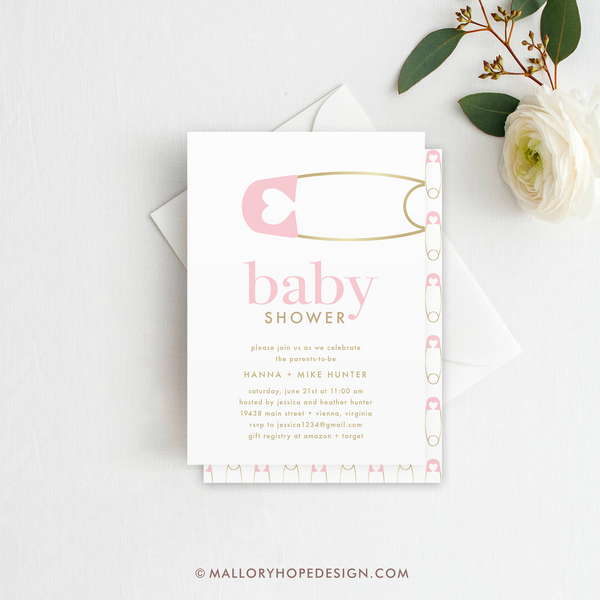 Diaper Pin Baby Shower Invitation - Pink