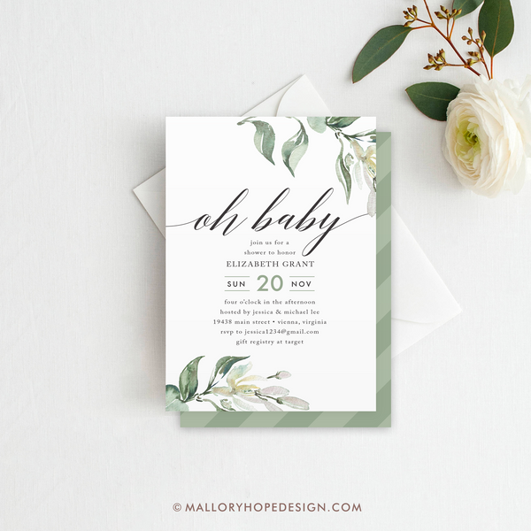 Greenery Baby Shower Invitation